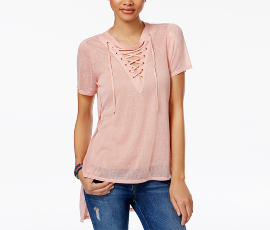 Material Girl Juniors Lace-Up Tunic, Pink