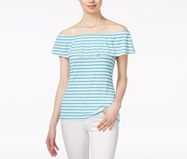 Maison Jules Striped Off-The-Shoulder Flounce Top, Sea Isle Combo