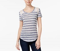 Maison Jules Women's Striped Lace-Inset T-Shirt, Blue/White