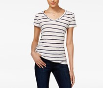 Maison Jules Women's Cotton Striped Top, White