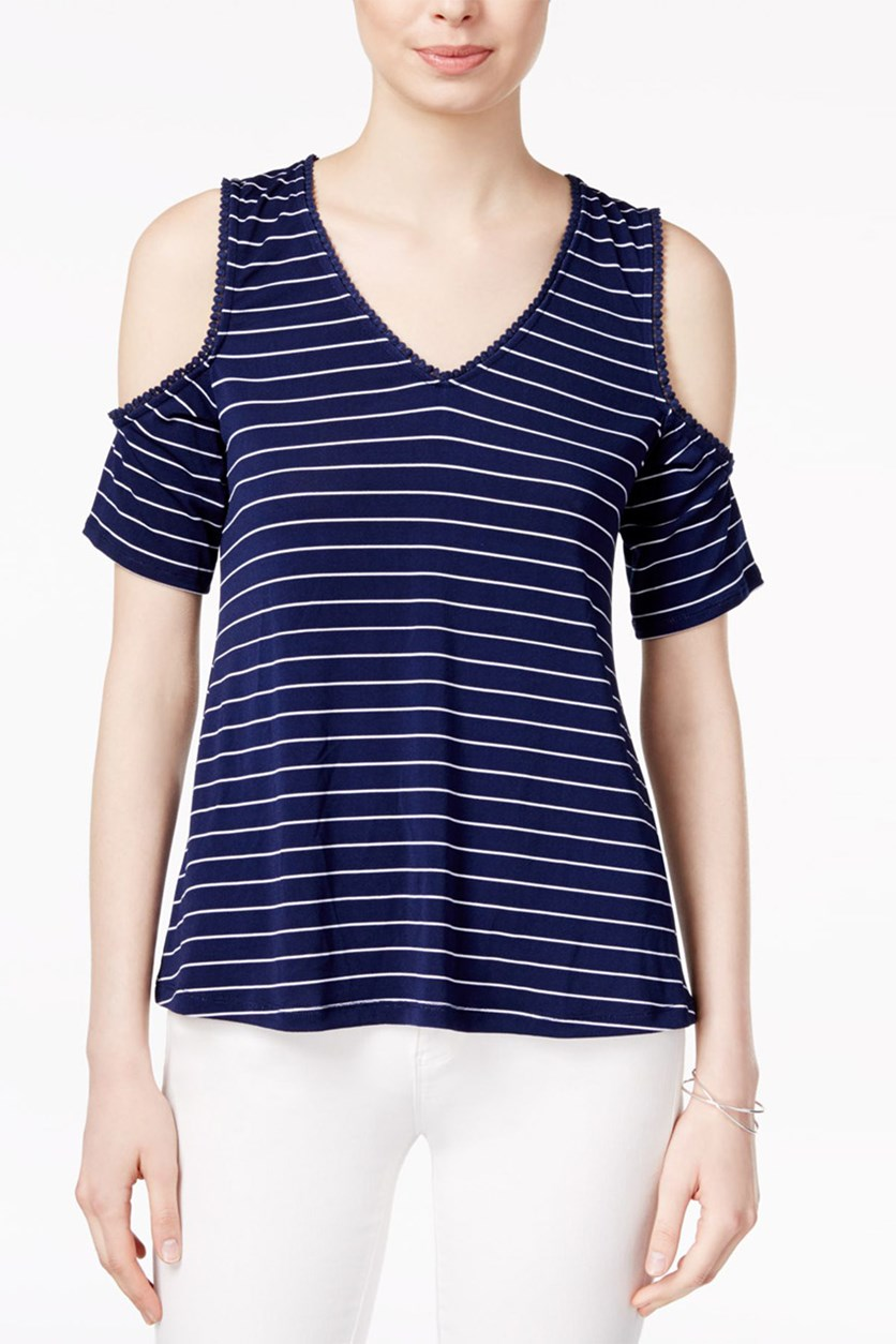 Off-The-Shoulder Crisscross Top, Blue Notte