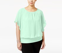 JM Collection Plus Size Butterfly-Sleeve Top, Classic Mint