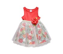 Sweet Heart Rose Baby Girls Floral-Print Sundress, Coral