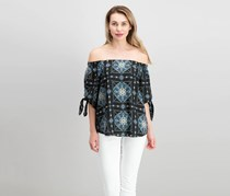 Renee C Off Shoulder Printed Top, Black Combo