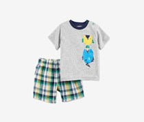 Carter's Little Boys' 2-Piece Short Set, Grey Combo