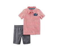 Carters 2-Pc. Striped Cotton Polo Shirt, Red/Grey
