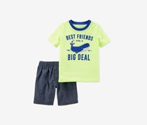 Carters 2-Pc. Graphic-Print T-Shirt Stripe, Neon/Grey