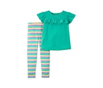 Carter's Baby Girl Solid Ruffle Top & Stripe Legging Set, Green Combo