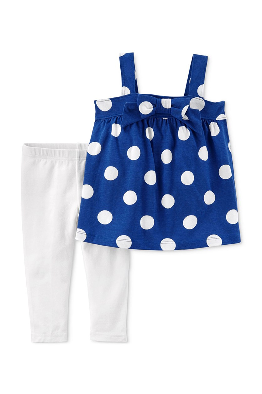 2-Pc. Dot-Print Tunic Leggings, Blue