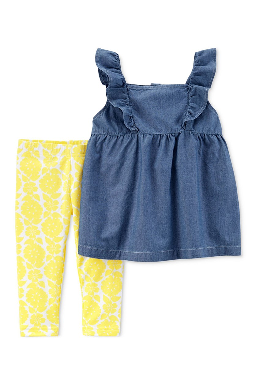 Carter's Baby Girls Ruffle Tank Top Leggings Set, Yellow/Navy