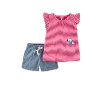 Carters 2-Pc. Graphic-Print Stripe Shirt Shorts, Pink