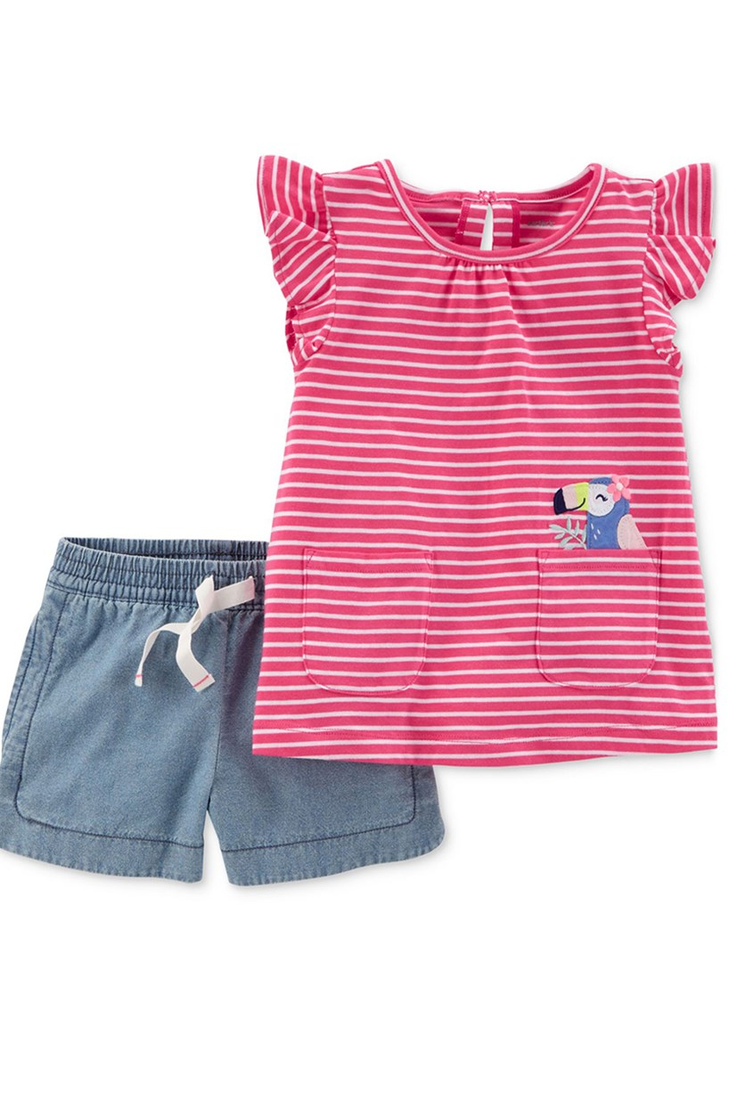 2-Pc. Graphic-Print Stripe Shirt Shorts, Pink