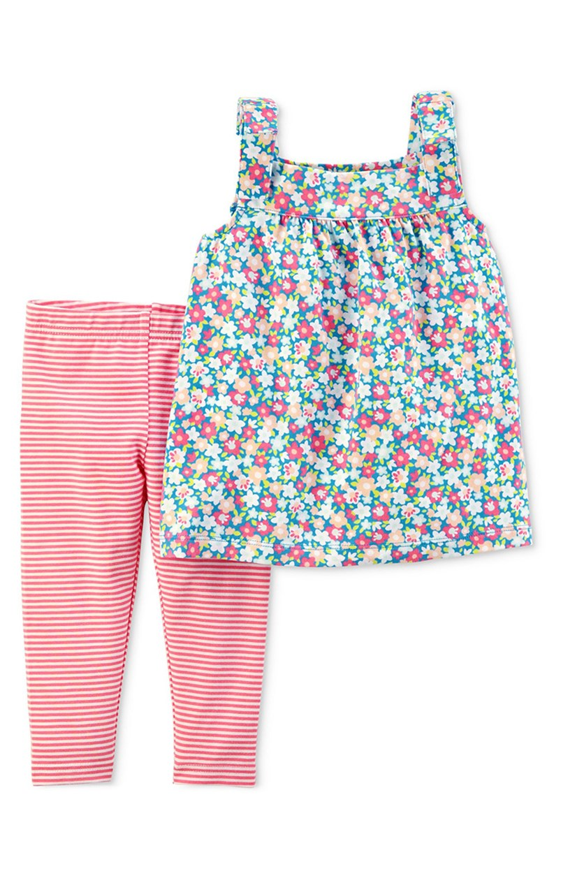 Infant Girls Pastel Floral Shirt & Stripe Pants, Pink/Blue