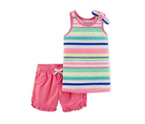 Carter's Baby Girls 2-Pc. Striped Top & Shorts Set, Pink Combo