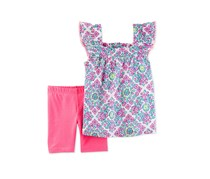 2-Pc. Graphic-Print Top Shorts, Pink
