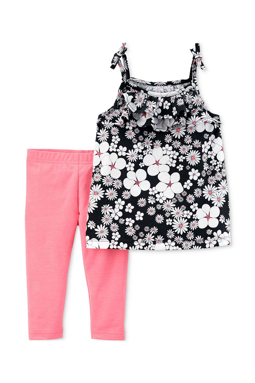 Baby Girls Floral Tank Shirt & Leggings Set, Pink/Black