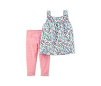 Carters 2-Pc. Floral-Print Tunic, Pink/Blue