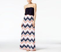 Trixxi Juniors' Crochet-Top Printed Blouson Maxi Dress, Navy