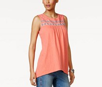 Style & Co Petite Embroidered Top, Coral