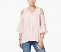 Style & Co Women's Embroidered Cold-Shoulder Top, Light Pink