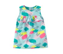 Carter's Kids Girls Pom Pom Trim Printed Cotton Top, Aqua Combo