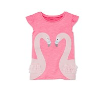 Carters Kids Girls Swans T-Shirt, Pink