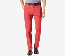 Men's Stretch Clean Khaki Slim Tapered Fit Pants, Bank Red