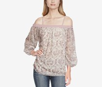 Jessica Simpson Juniors' Cold-Shoulder Printed Top, Mauve