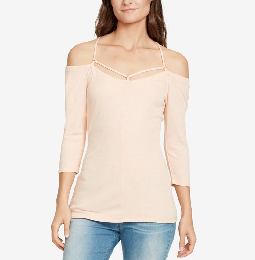 Women's Off-The-Shoulder Top, Peach Parfait