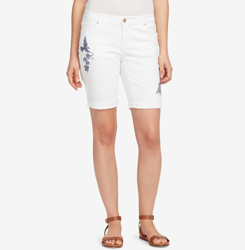 Embroidered Bermuda Shorts, Everlasting White