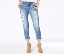 Black Daisy Juniors' Jamie Ripped Cuffed Relaxed Fit Girlfriend Jeans, Windsor