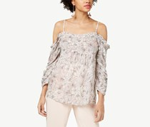 William Rast Printed Off-The-Shoulder Top, Pink/Ivory