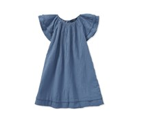 Ralph Lauren Girls Flutter-Sleeve Cotton Dress, Blue