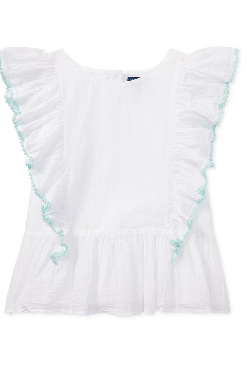 Polo Ralph Lauren Girls Ruffled Cotton Top, White
