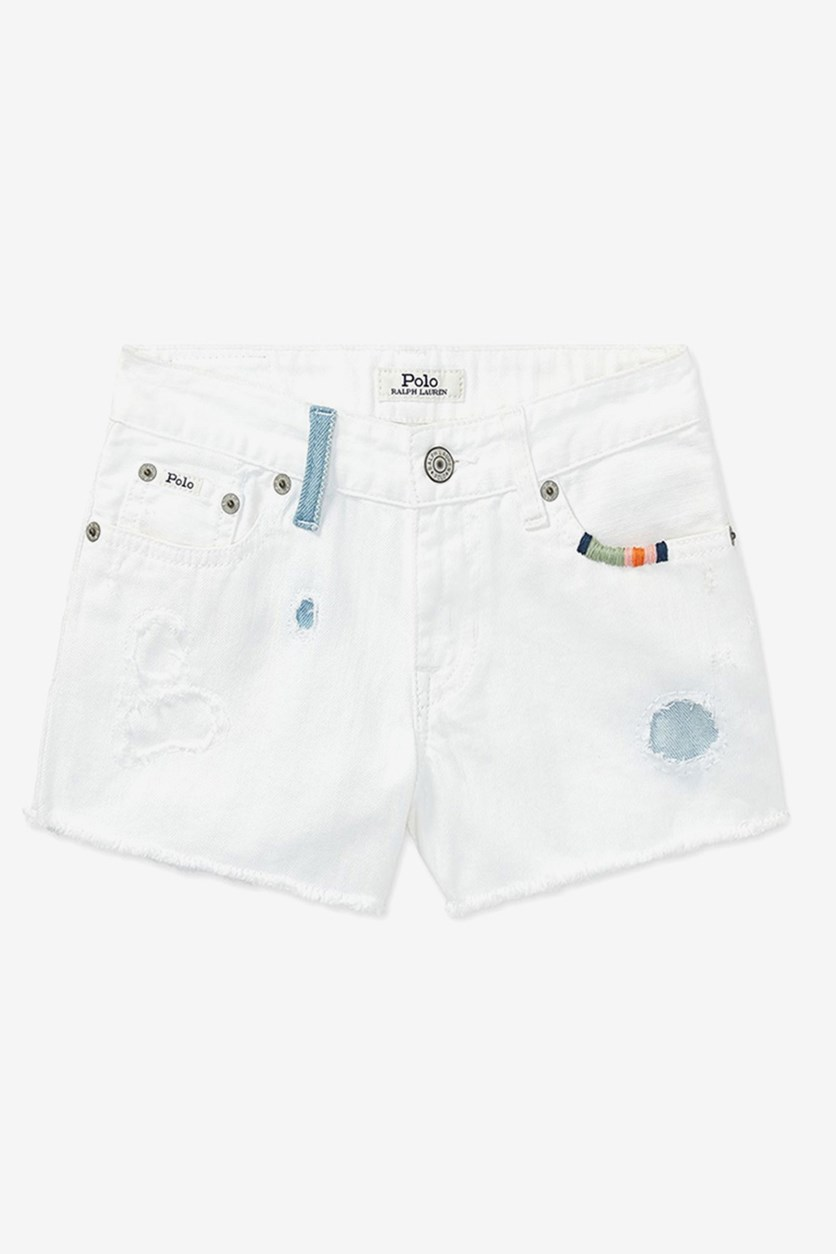 Kids Girl's Cotton Shorts, White
