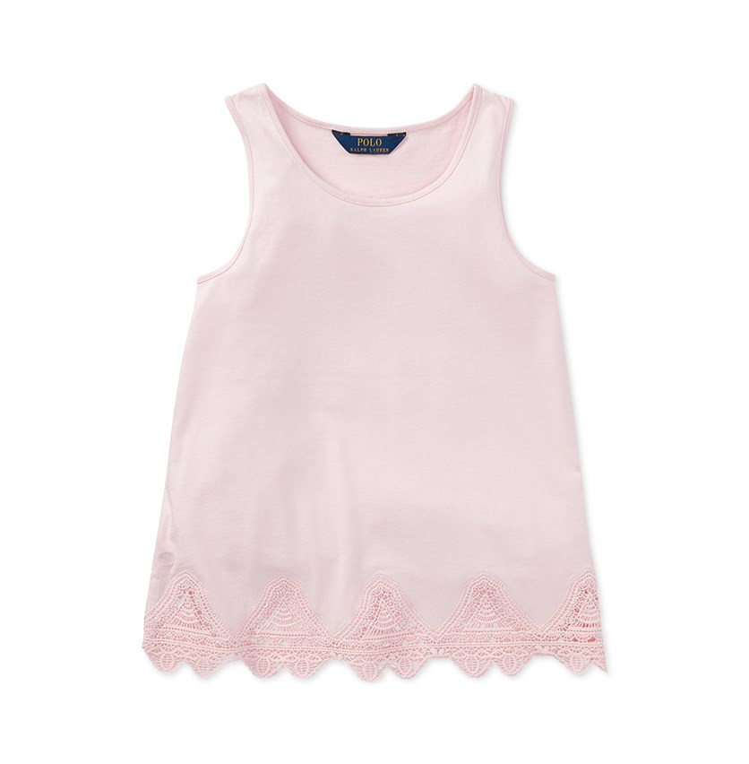 Lace-Trim Tank Top, Pink