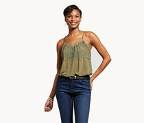 Knox Rose Oil Wash Embroidery Bodysuit, Olive
