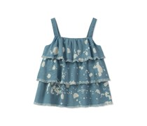 Calvin Klein Ruffle Bleach Splatter Cotton Worn, Blue