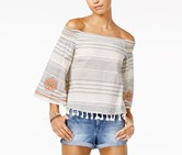 Xoxo Juniors' Embroidered Off-The-Shoulder Top, Ivory Combo