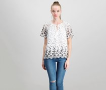 Skies are Blue Women's Petite Embroidered Top, White