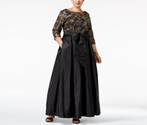 Alex Women's Evenings Plus Size Sequined Floral Lace Gown, Black