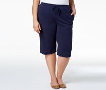Karen Scott Plus Size Cotton Capri Shorts, Intrepid Blue