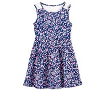 Epic Threads Baby Girl's Floral-Print Fit & Flare Dress, Navy/Fushia/Aqua