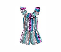 Epic Threads Butterfly-Print Romper, Purple/Blue Combo