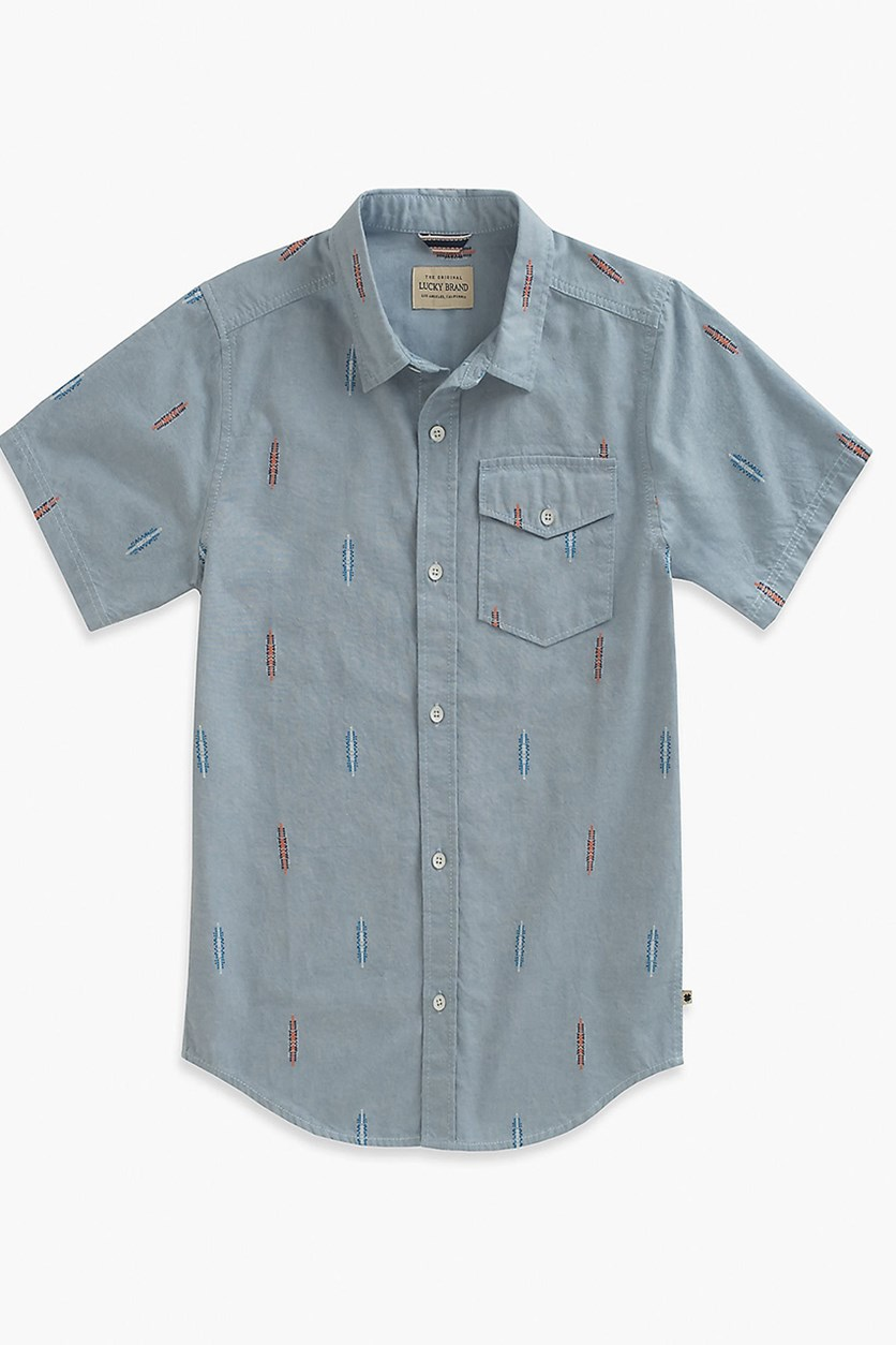 Toddlers Short Sleeve Casual Shirt, Light Blue Chambray