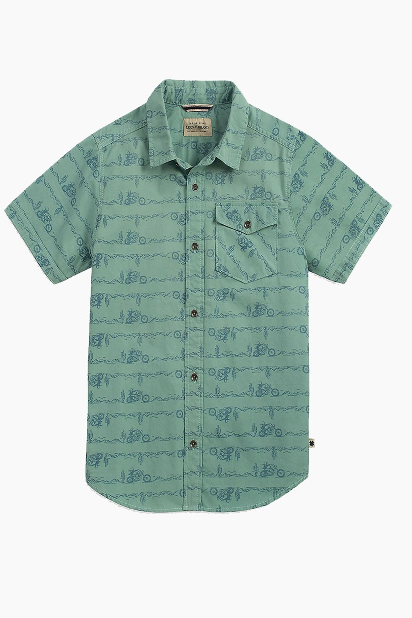 Toddlers Boys Short Sleeve Conversational Print Shirt, Medium Dark Green