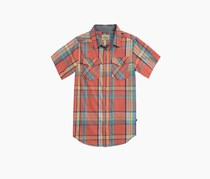 Toddlers Short Sleeve Plaid Shirt, Spiced Coral Combo