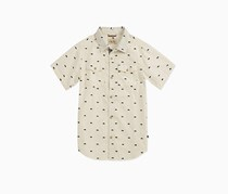 Toddlers Short Sleeve Button Down Shirt, Marshmellow Heather