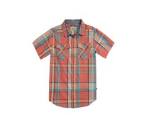 Lucky Brand Plaid Button-Up, Spiced Coral