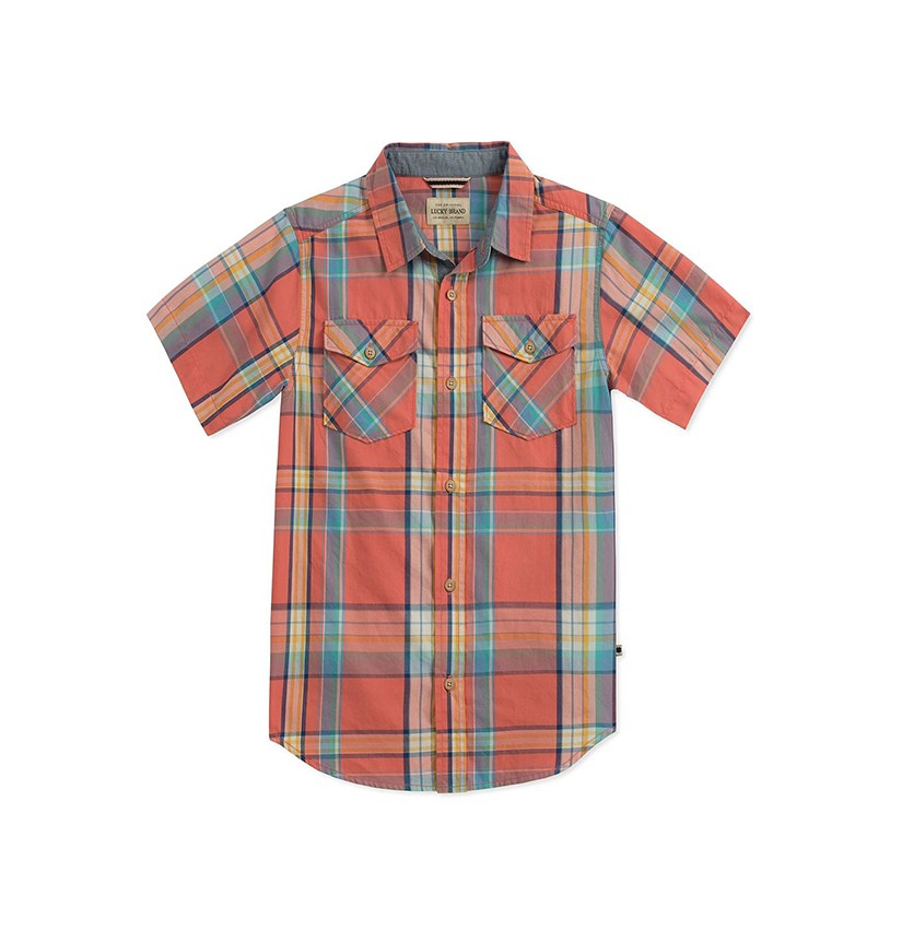 Plaid Button-Up, Spiced Coral